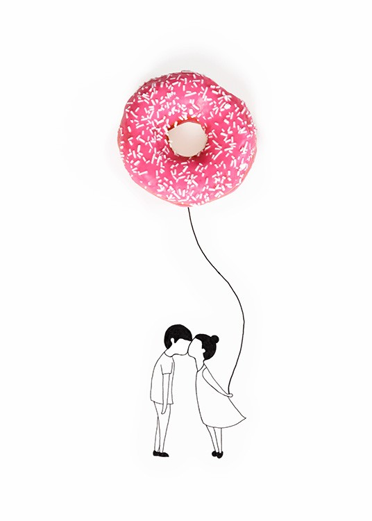 Donut Balloon Poster / Kids posters at Desenio AB (12718)