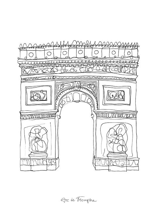 The Arc de Triomphe Poster / Black & white at Desenio AB (12921)