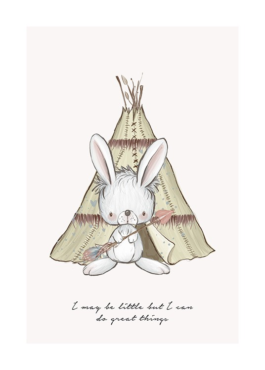 Illustrated kids print with bunny in front of green tent with inspirational quote