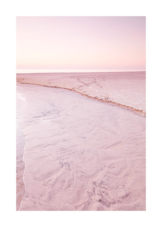 Nature print with pink sand beach and pink sky