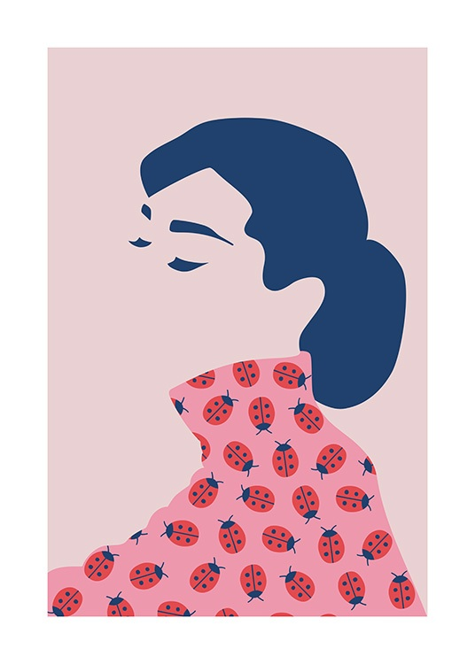 Graphical illustration of Audrey Hepburn with closed eyes and a pink top with ladybugs