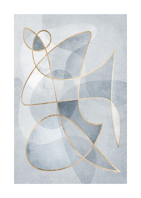 Graphical illustration with abstract shapes in blue with gold coloured lines