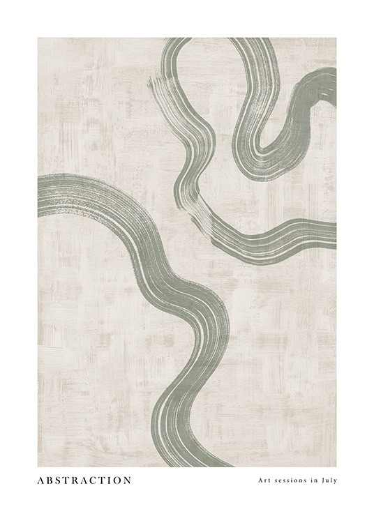 - Graphical painting with beige structured background and green painted swirls