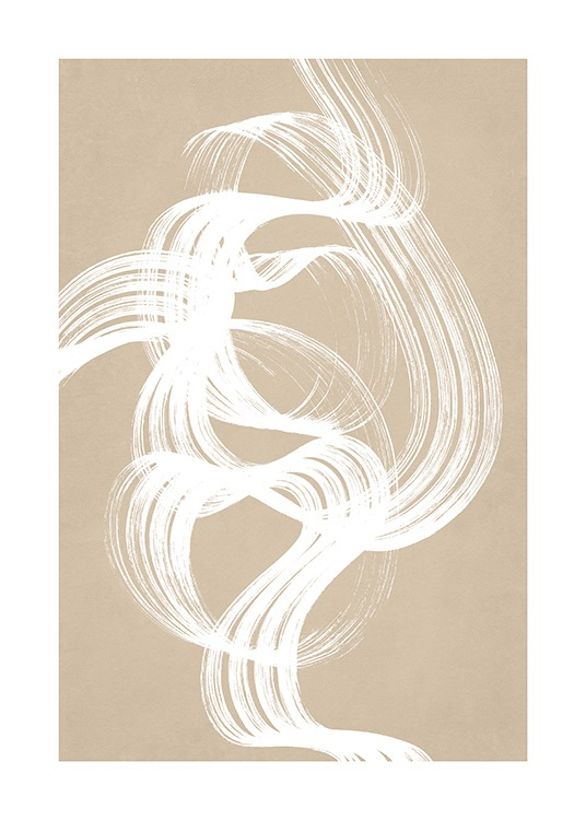 - White abstract figure painted in a swirl with a bold brush, on a beige background