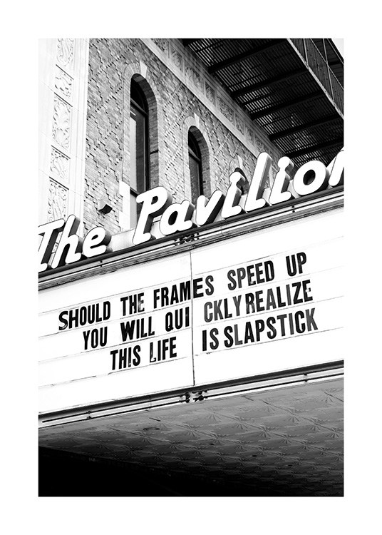 - Black and white photograph of a retro sign with text The Pavilion