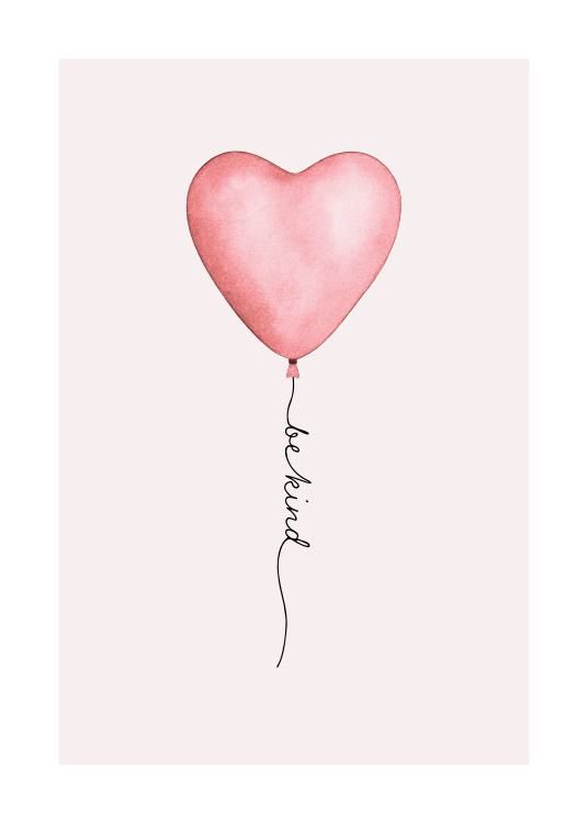 - Illustration with a grey background behind a pink heart shaped balloon