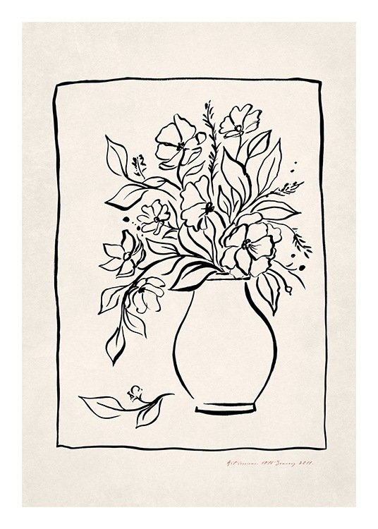 - Illustration with handpainted flowers in a vase with a thin black line surrounding the flowers and the vase
