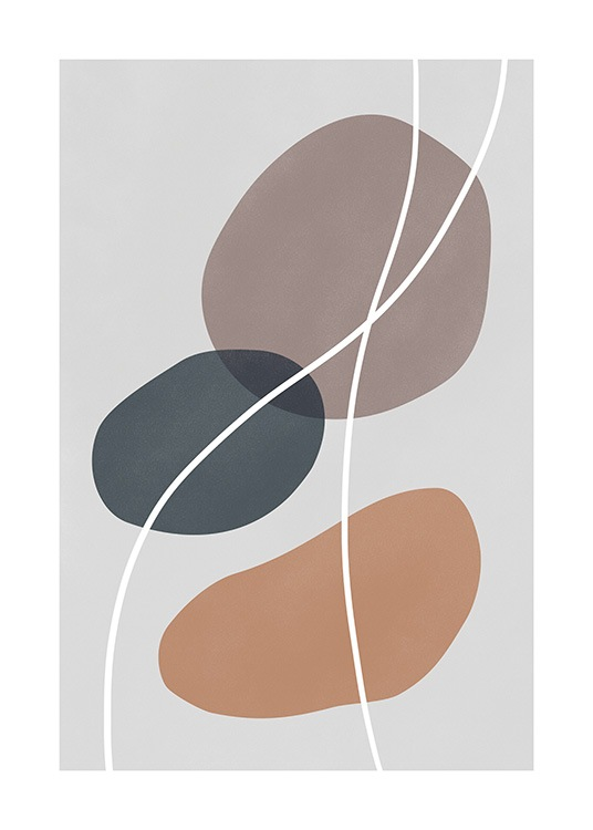 - Graphical illustration in earthy tones, with blue, beige and brown circles and white lines on a grey background