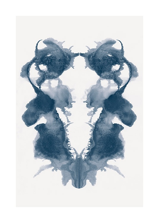 - Painting in watercolour of a blue Rorschard symbol with a light beige background