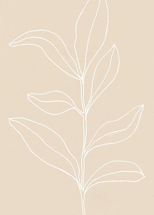- Painted leaves on a beige background, with the leaves in white and hand drawn lines