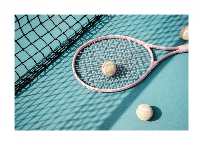 - Photograph of a turquoise tennis court with a pink tennis racket and two tennis balls