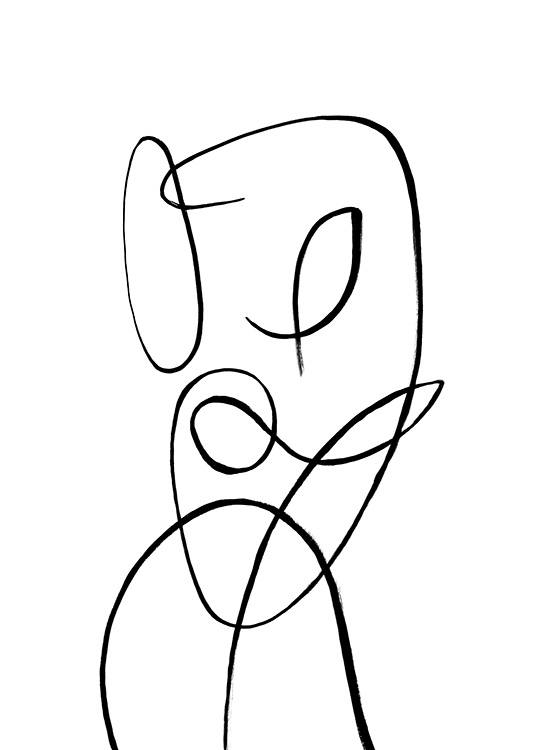 - Simple abstract illustration in black and white of a woman