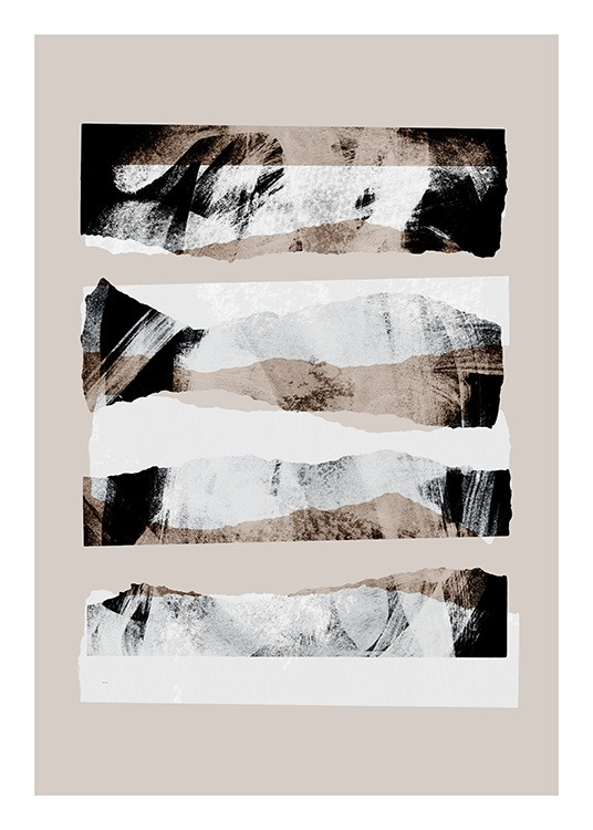 - Beige print with abstract shapes and illustrations in beige, grey and white
