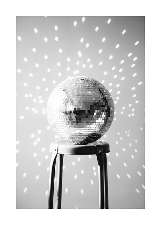 Disco Ball Poster / Black & white photography at Desenio AB (13629)