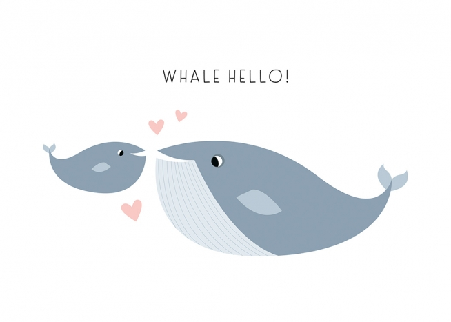 Whale Hello There Poster / Animal illustrations at Desenio AB (13712)