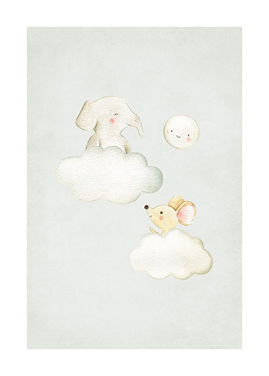 In the Clouds No2 Poster / Animal illustrations at Desenio AB (13718)