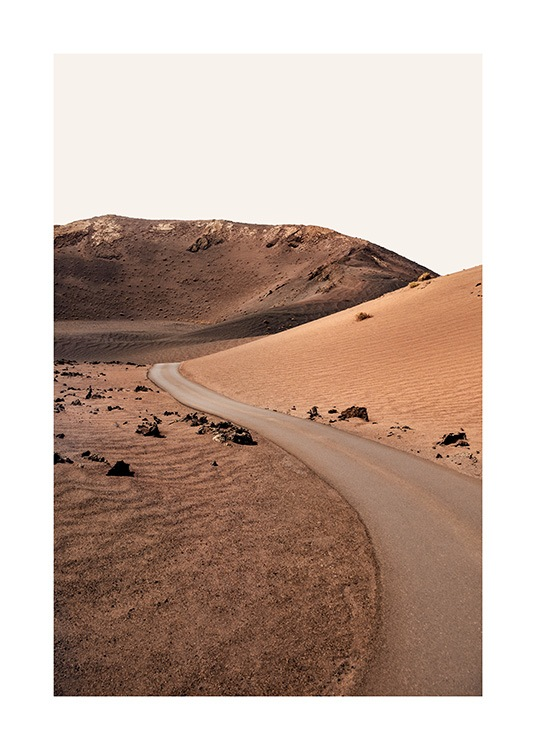 – Nature poster with photograph of a road in the desert surrounded by sand dunes