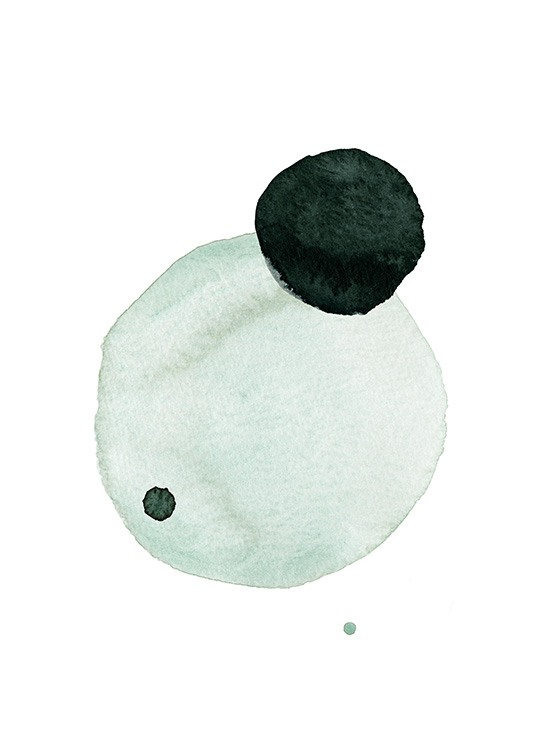 – Watercolor painting with mint and dark green circles on a white background