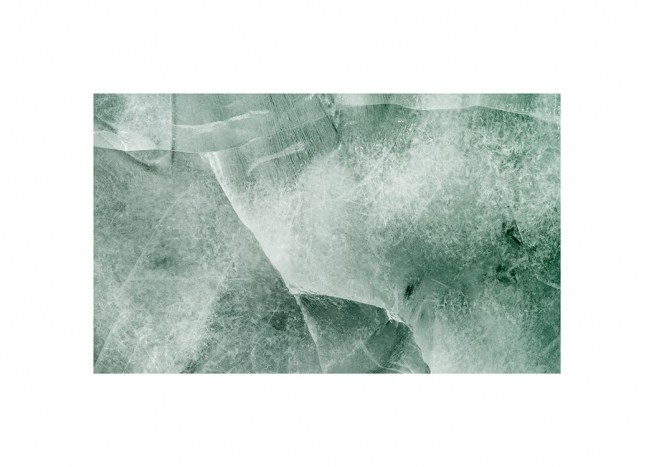 – Photograph with aerial view of ice in green with abstract patterns