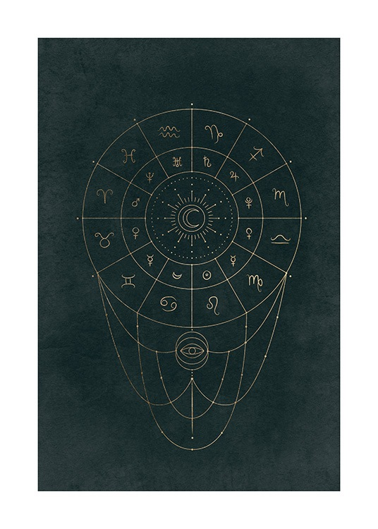 – Graphical illustration with a gold circle and astronomical signs