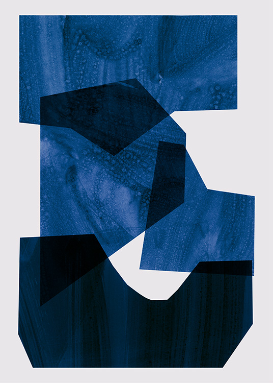 – Abstract illustration with graphical shapes in dark and bright blue on a beige background