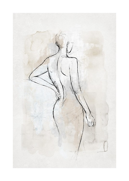 – Watercolor painting in grey and beige with a sketch of a naked body in black