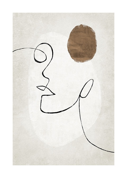 – Illustration with abstract shapes and a face in line art on a beige background