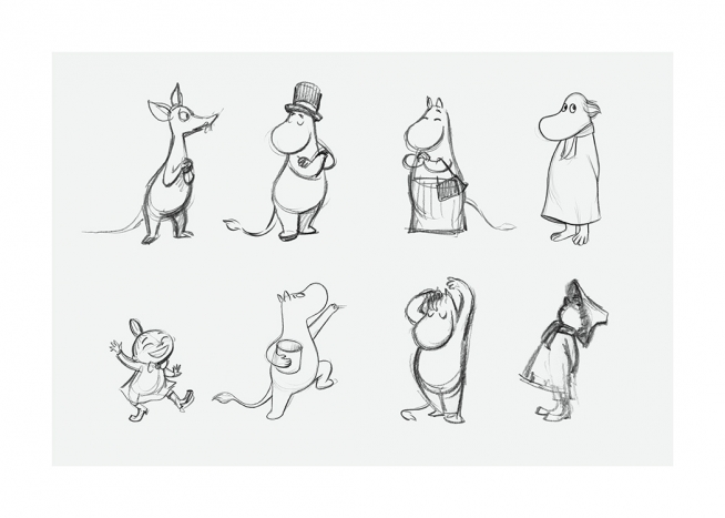 – Cute sketch of some of the characters from Moominvalley on a light grey background