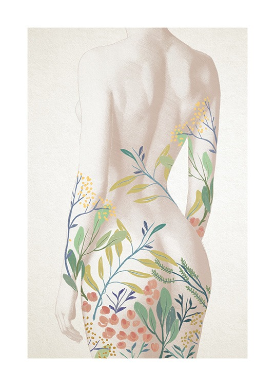 – Illustration of a naked woman with painted flowers and leaves in color on her backside