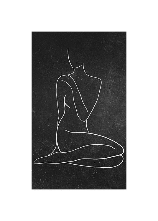 - Drawing on a chalkboard background of a woman drawn in line art