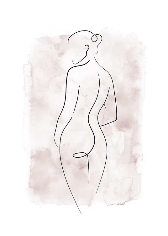 - Drawing of a naked woman in line art with a pink watercolor background
