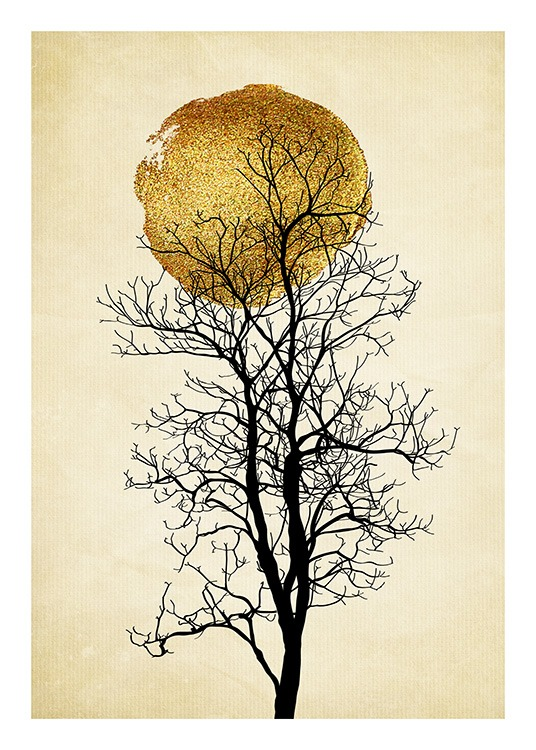 - Graphical art print with a golden sun behind a black tree on a beige background with stripes