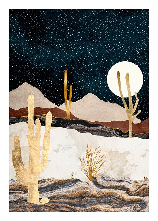 - Graphical illustration of a desert with gold cacti and a dark blue sky with a white moon