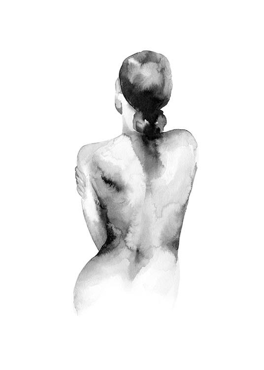 - Black and white watercolor painting of a naked woman seen from behind