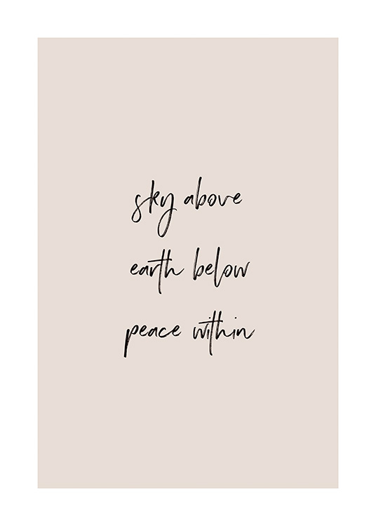 – Quote print in beige and black with quote about feeling peace within