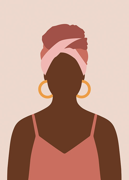 – Graphical illustration of a woman with a pink tank top, headscarf and gold hoop earrings