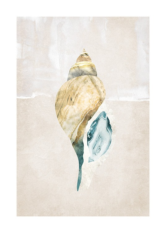 – Graphical illustration of a seashell in gold with blue details on a beige background