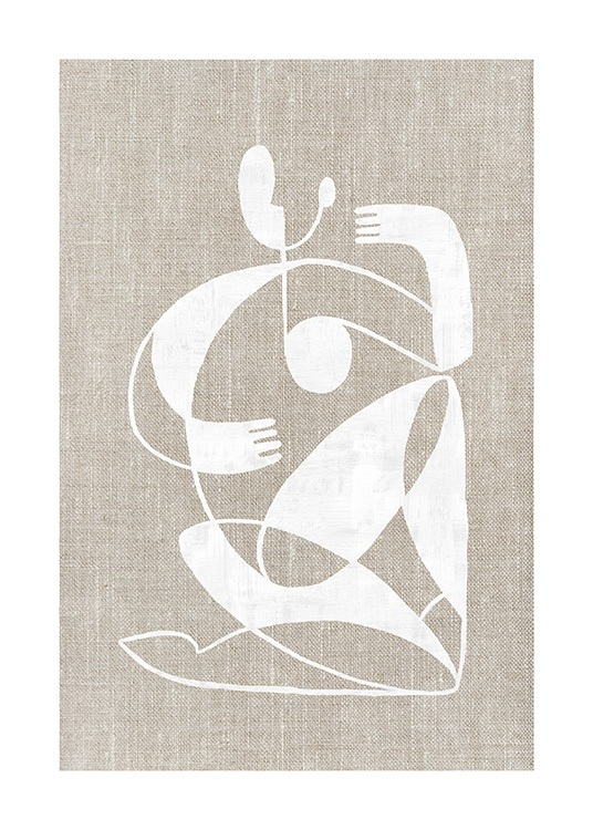 – Graphical illustration of an abstract body in white on a linen background in beige