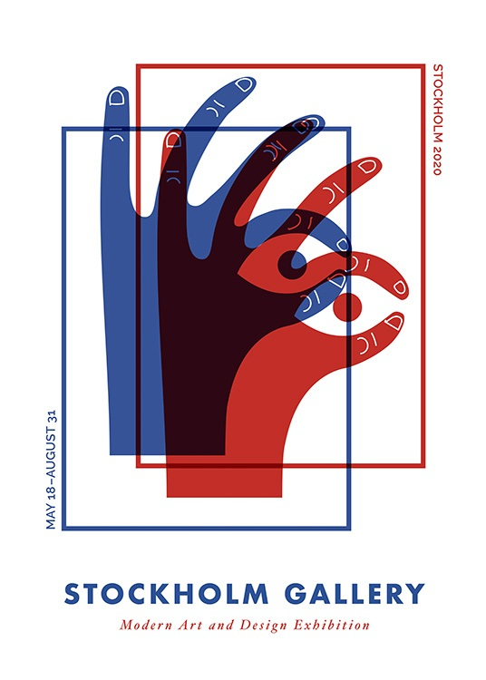– Graphical illustration with two hands in red and blue forming eyes with their fingers
