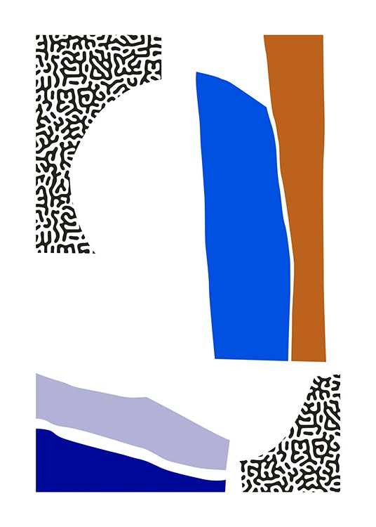 – Abstract graphical illustration with color blocks in blue, brown and black and white