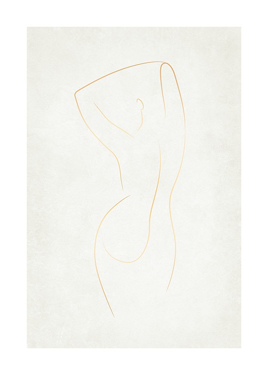 – Abstract body in gold lines against a light beige background