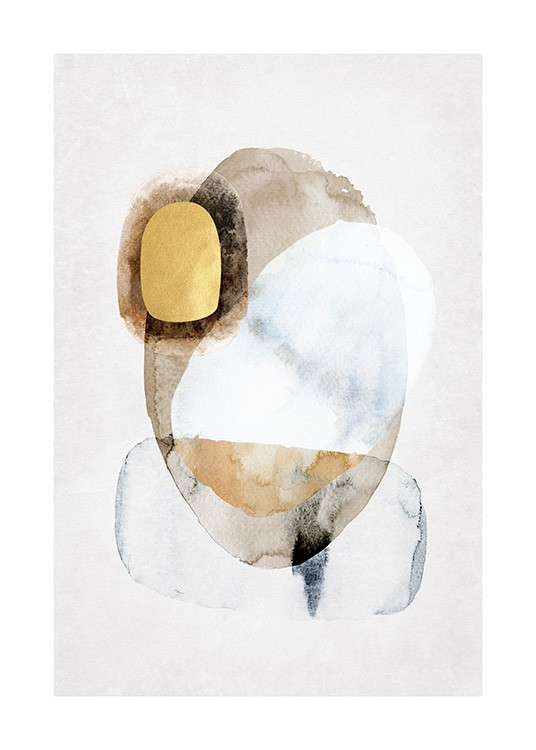 – Abstract shapes painted in beige and light grey watercolor with gold details