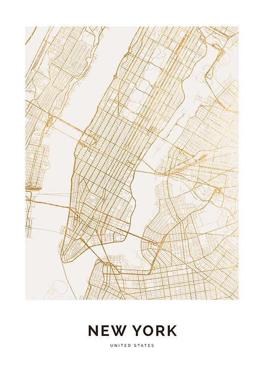 – Map in gold of New York against a white background, with text at the bottom