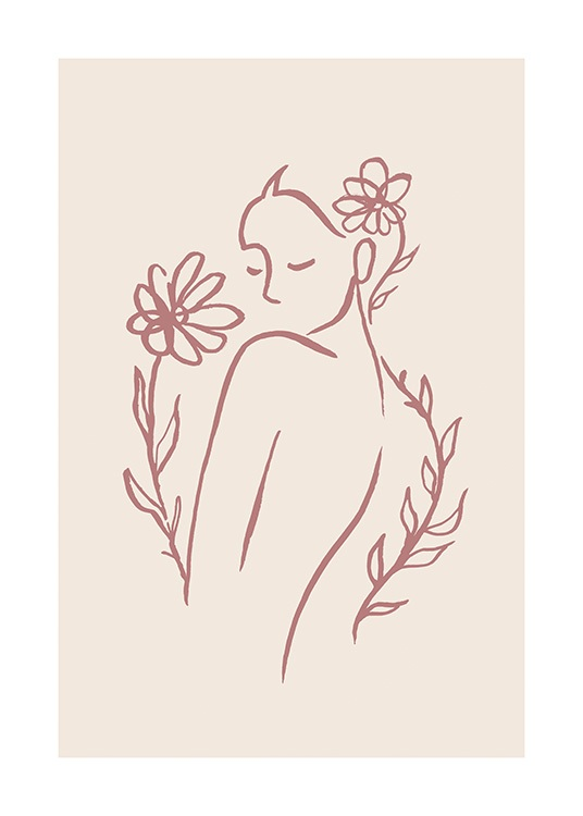 – Illustration in line art of a woman with flowers surrounding her, on a beige background