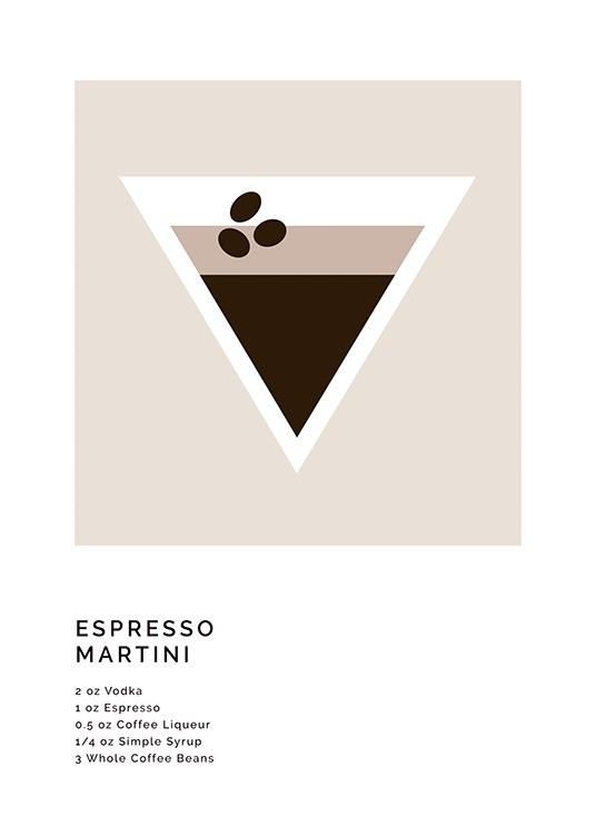 – Graphic illustration with a recipe of an espresso martini and an illustration of the drink
