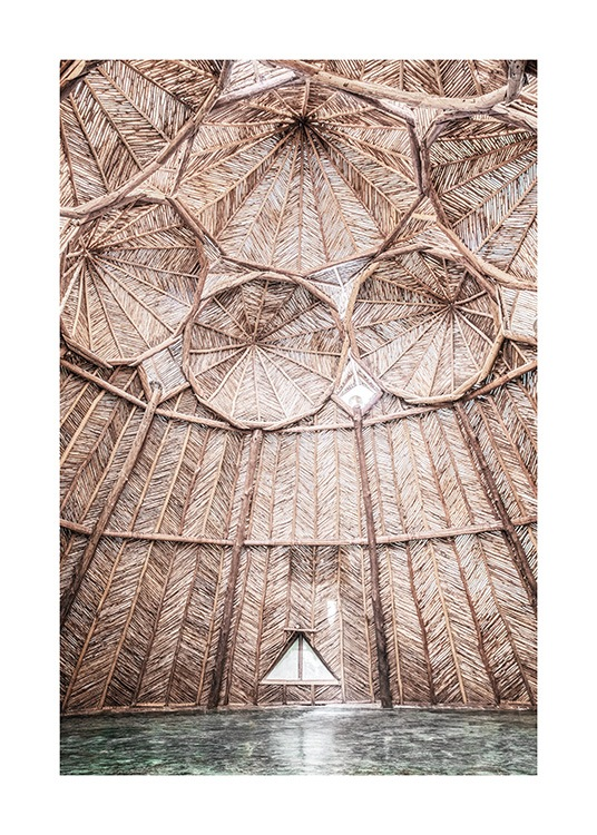 – Photograph of a ceiling in a yoga studio made out of organic material