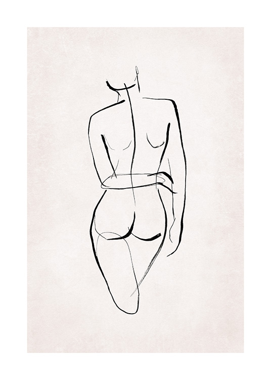 – Illustration with a naked body painted in line art with black lines on a light pink background