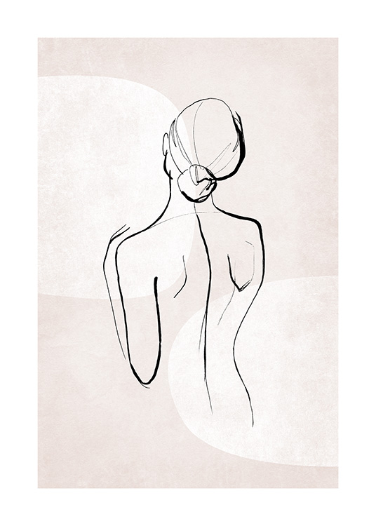 – Illustration of a woman's back, painted in black on a light pink background