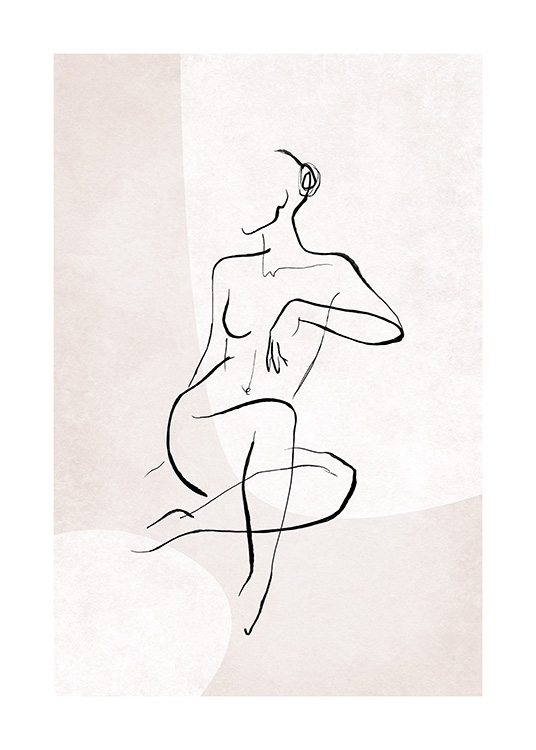 – Illustration in line art of a naked woman sitting down, with lines in black against a light pink background