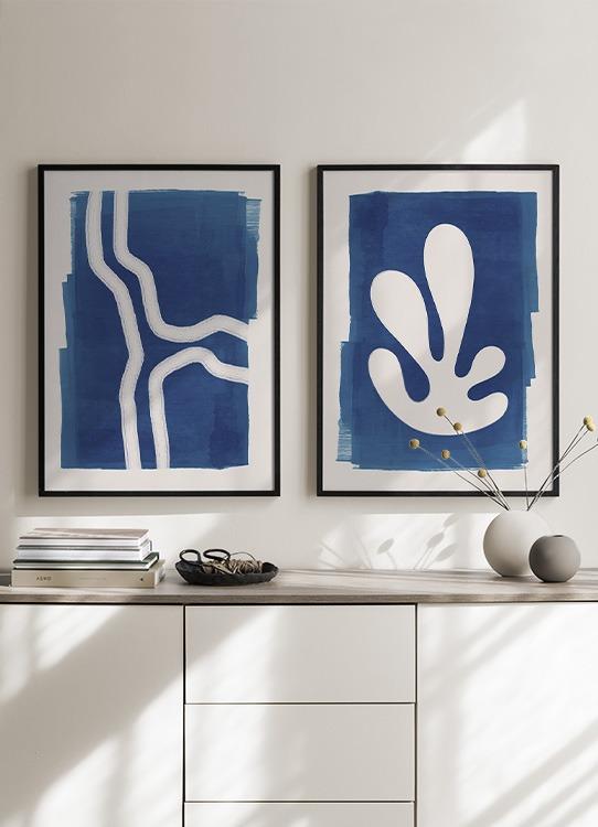 Blue Coral Poster Graphic Coral Desenio Com